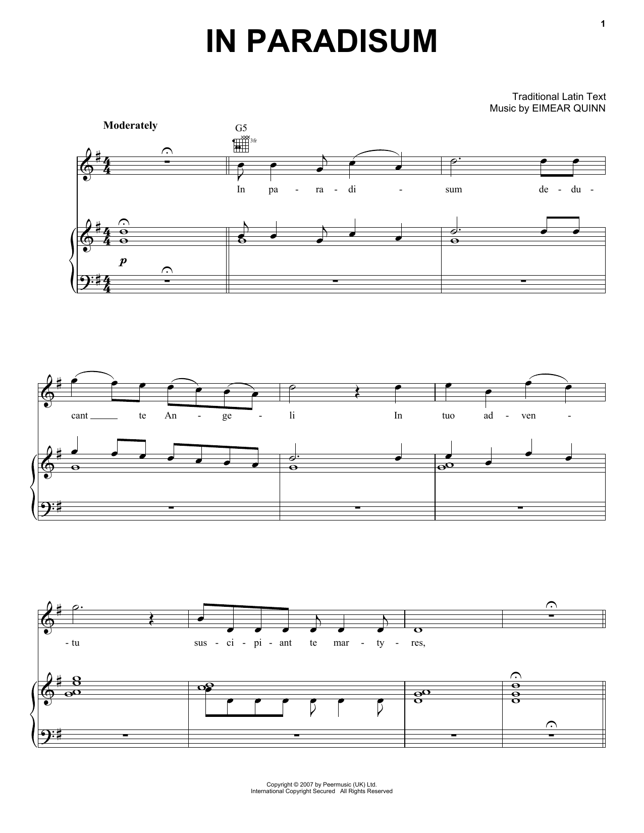 Eimear Quinn In Paradisum sheet music notes and chords. Download Printable PDF.