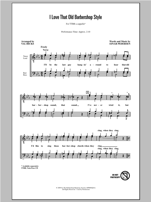 Einar Pedersen I Love That Old Barbershop Style (arr. Val Hicks) sheet music notes and chords. Download Printable PDF.