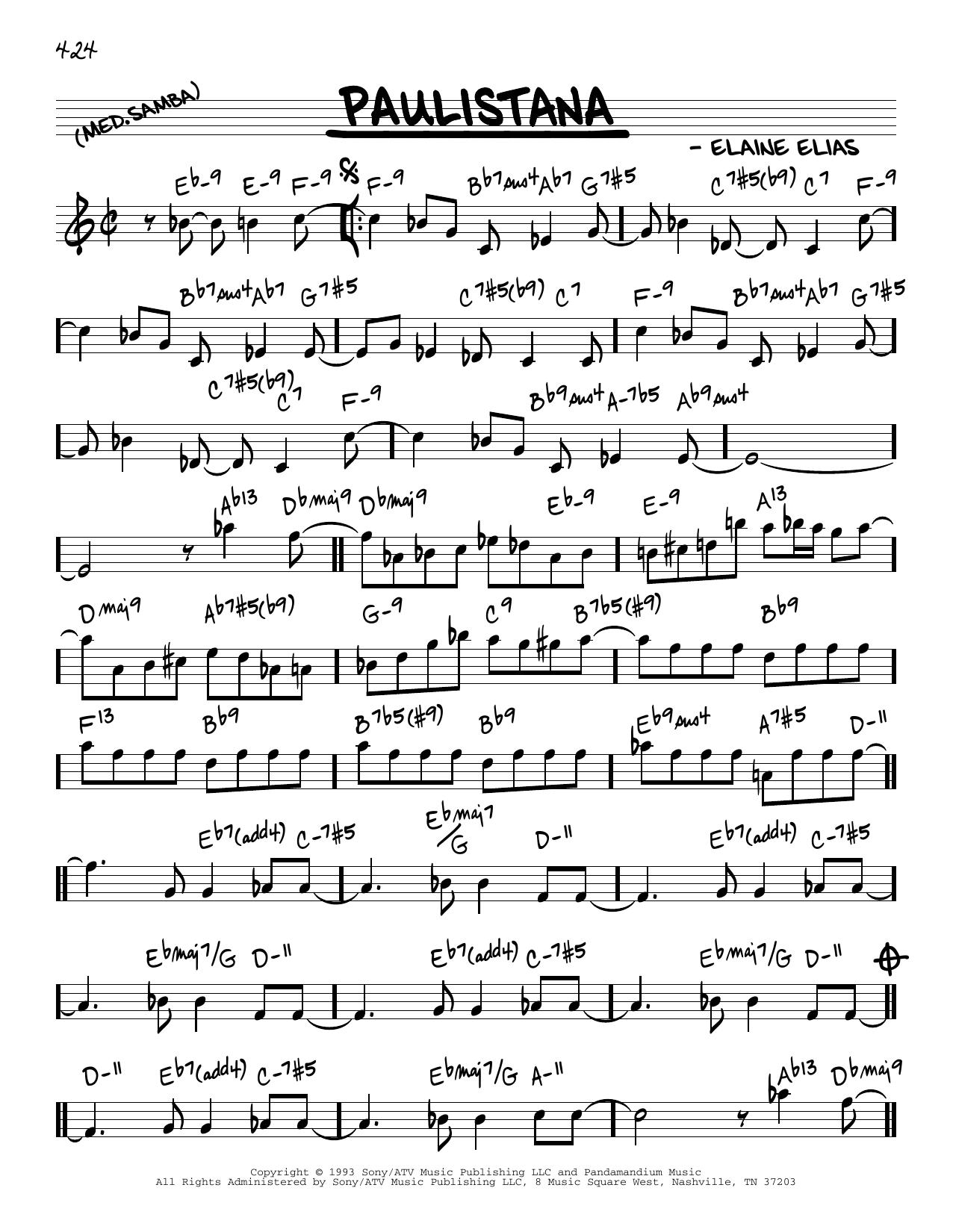 Elaine Elias Paulistana sheet music notes and chords. Download Printable PDF.