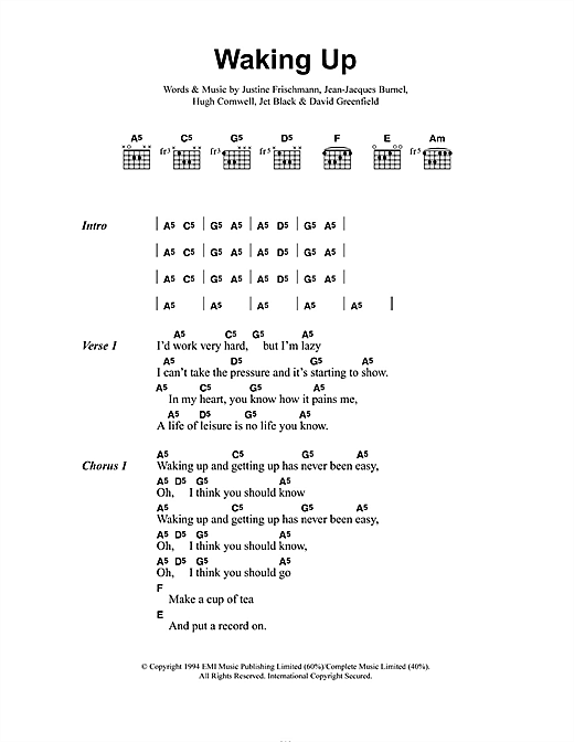 Elastica Waking Up sheet music notes and chords. Download Printable PDF.