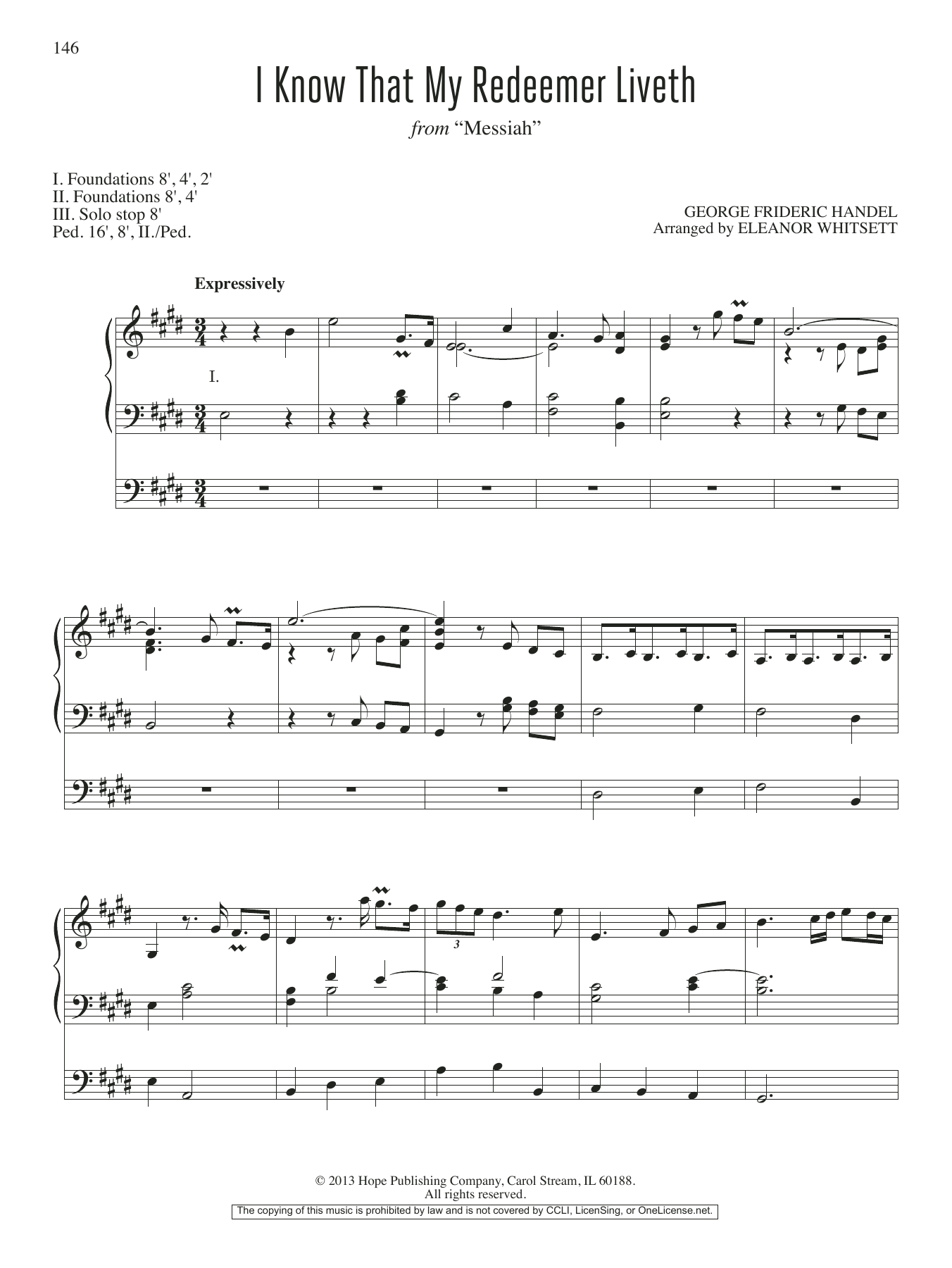 Eleanor Whitsett I Know That My Redeemer Liveth sheet music notes and chords. Download Printable PDF.