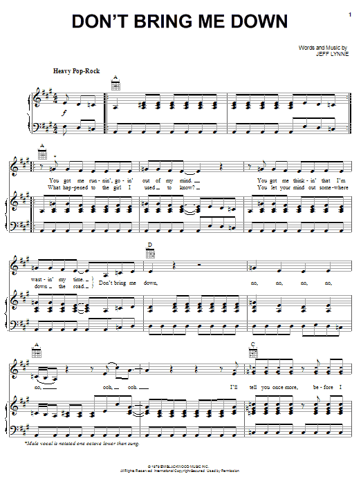 Electric Light Orchestra Don't Bring Me Down sheet music notes and chords. Download Printable PDF.