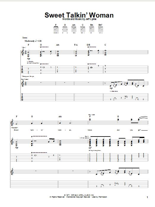 Electric Light Orchestra Sweet Talkin' Woman sheet music notes and chords. Download Printable PDF.