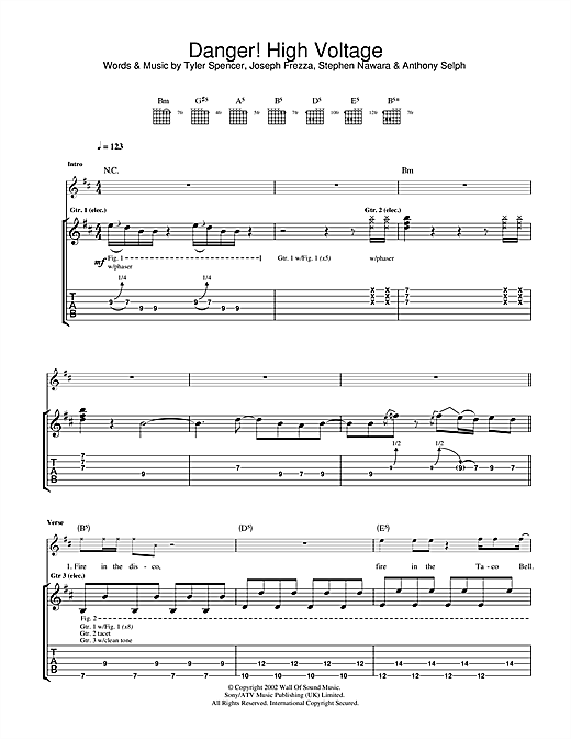 Electric Six Danger! High Voltage sheet music notes and chords. Download Printable PDF.