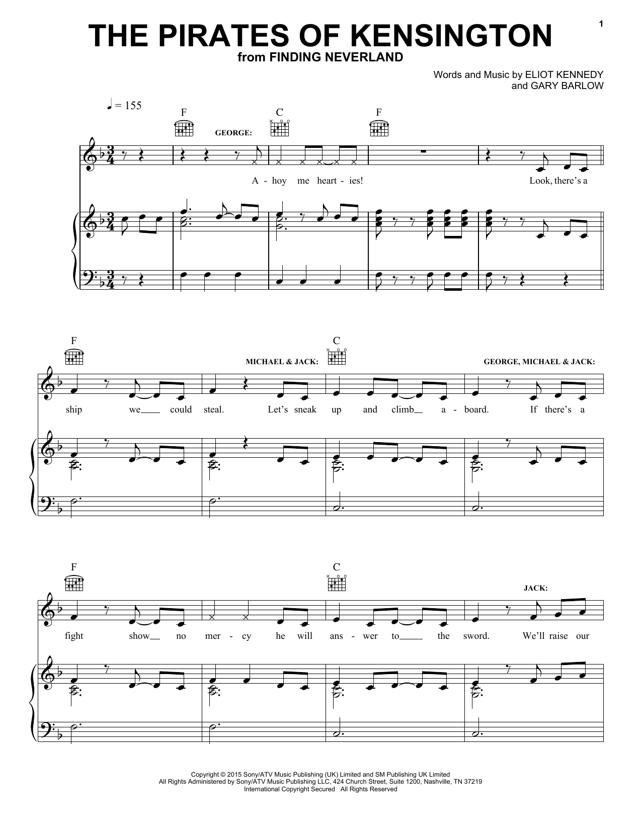 Eliot Kennedy The Pirates Of Kensington sheet music notes and chords. Download Printable PDF.