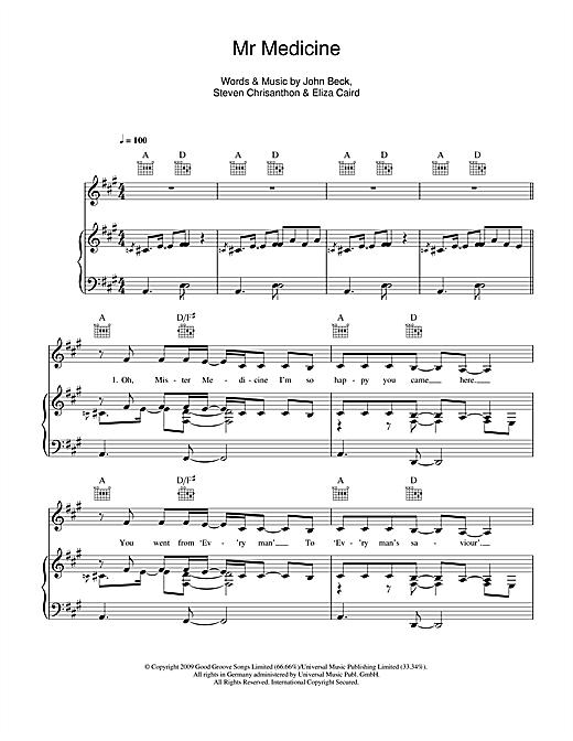 Eliza Doolittle Mr Medicine sheet music notes and chords. Download Printable PDF.