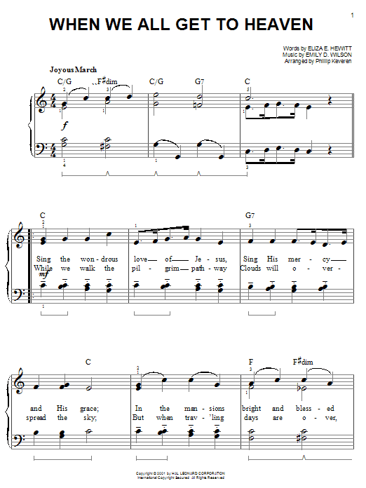 Eliza E. Hewitt When We All Get To Heaven sheet music notes and chords. Download Printable PDF.