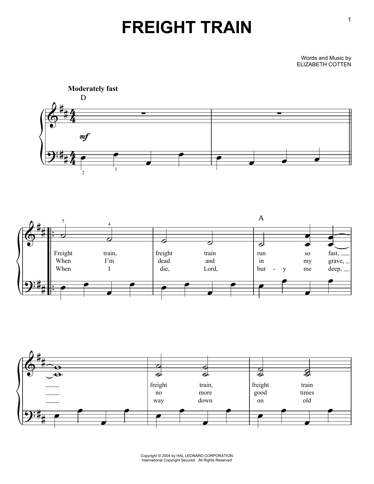 Elizabeth Cotten Freight Train sheet music notes and chords. Download Printable PDF.