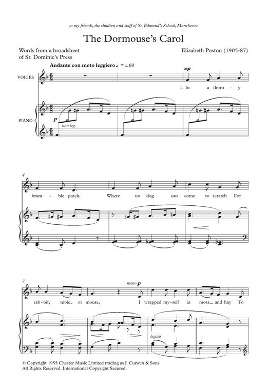 Elizabeth Poston The Dormouse's Carol sheet music notes and chords. Download Printable PDF.