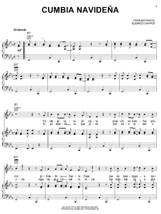 Elizardo Campos Cumbia Navideña sheet music notes and chords. Download Printable PDF.