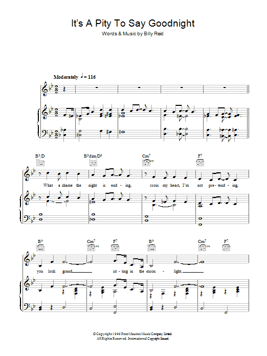Ella Fitzgerald It's A Pity To Say Goodnight sheet music notes and chords. Download Printable PDF.