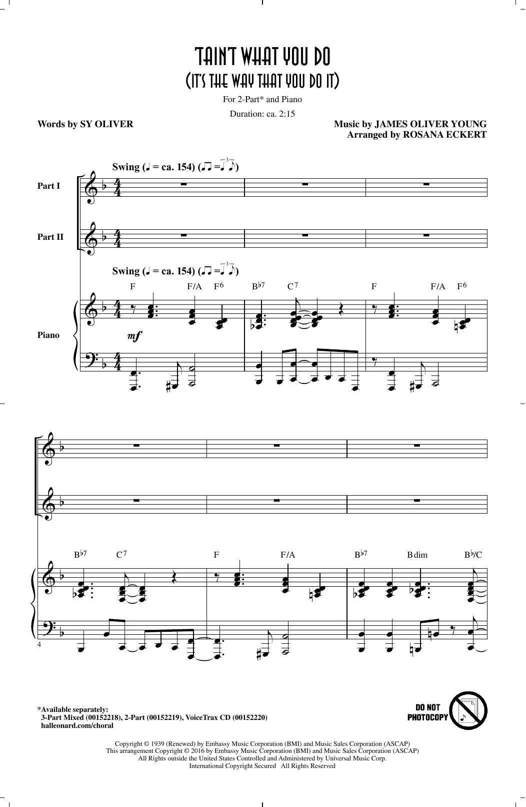 Rosana Eckert 'Tain't What You Do (It's The Way That Cha Do It) sheet music notes and chords. Download Printable PDF.