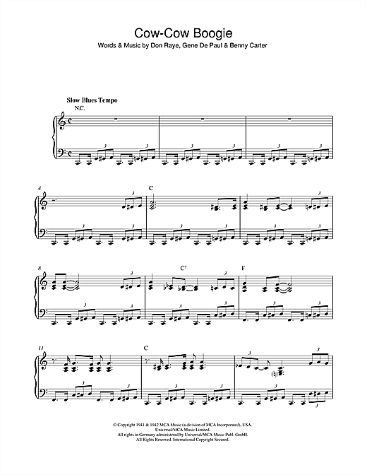 Ella Fitzgerald Cow-Cow Boogie sheet music notes and chords. Download Printable PDF.