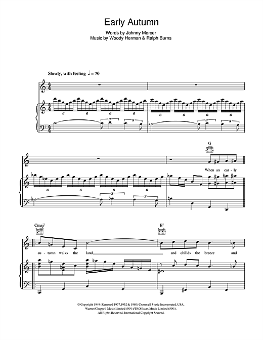 Ella Fitzgerald Early Autumn sheet music notes and chords. Download Printable PDF.