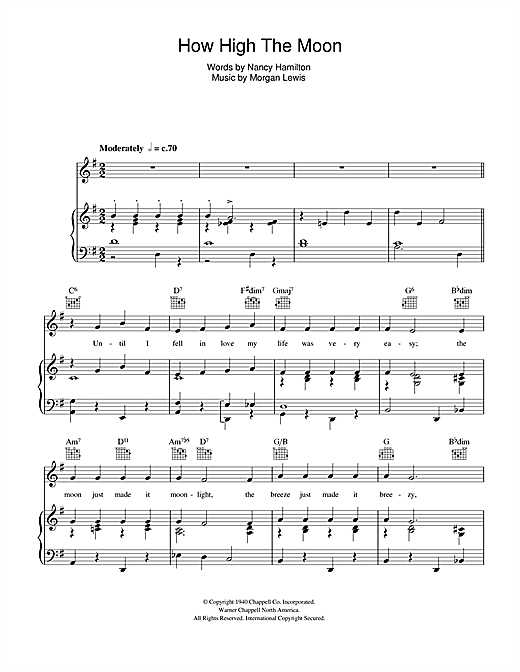 Ella Fitzgerald How High The Moon sheet music notes and chords. Download Printable PDF.