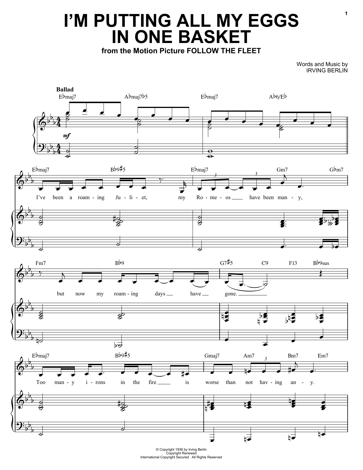 Ella Fitzgerald I'm Putting All My Eggs In One Basket sheet music notes and chords. Download Printable PDF.