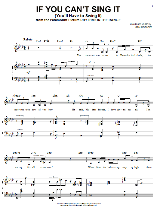 Ella Fitzgerald If You Can't Sing It (You'll Have To Swing It) sheet music notes and chords. Download Printable PDF.