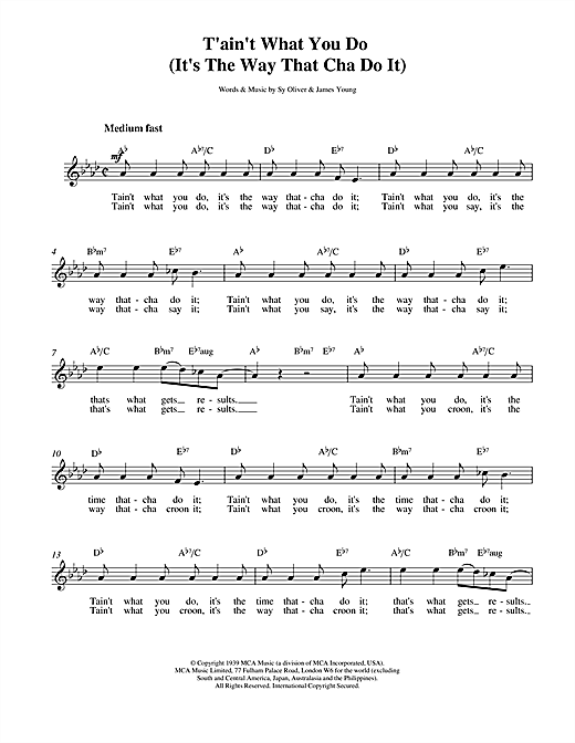 Ella Fitzgerald Tain't What You Do sheet music notes and chords