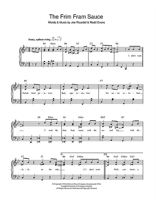 Ella Fitzgerald The Frim Fram Sauce sheet music notes and chords. Download Printable PDF.