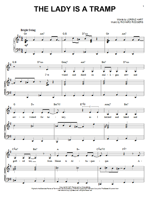 Ella Fitzgerald The Lady Is A Tramp sheet music notes and chords. Download Printable PDF.