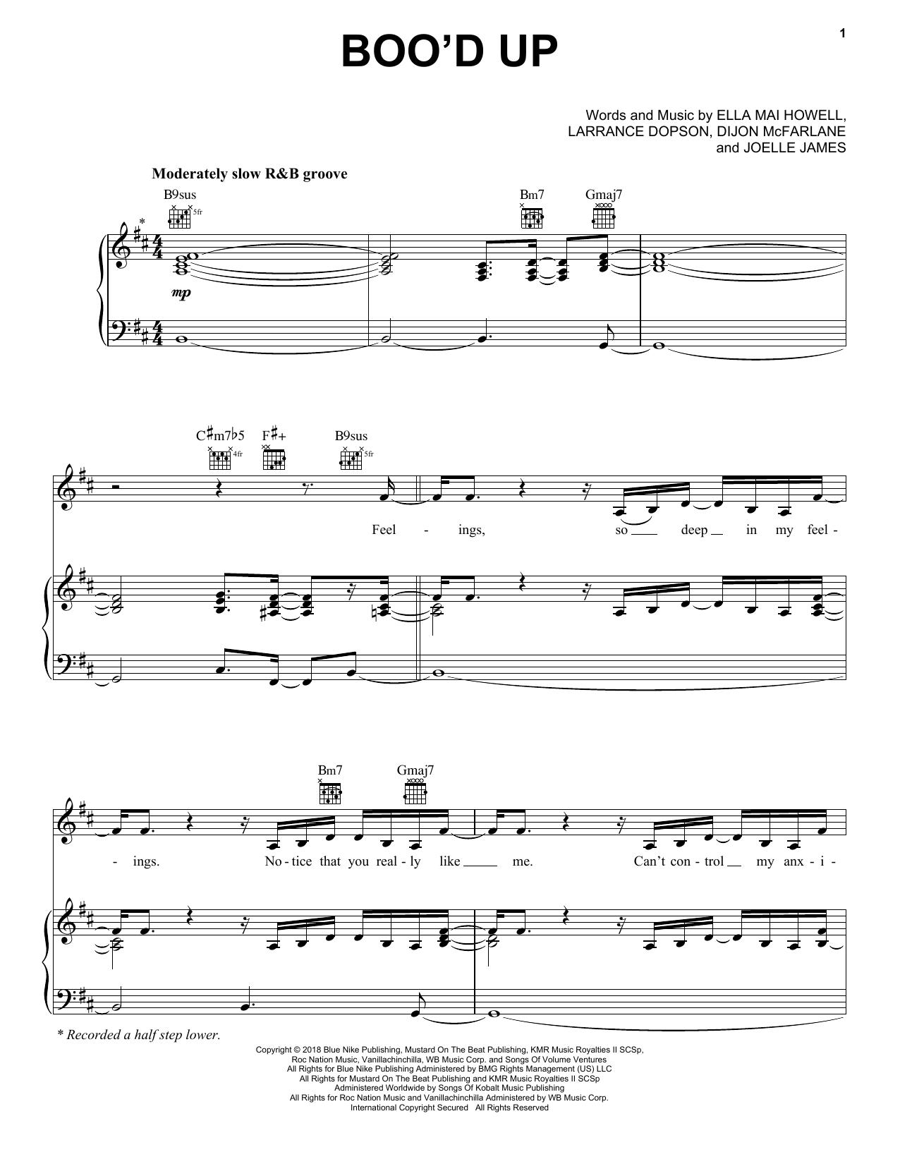 Ella Mai Boo'd Up (feat. DJ Mustard) sheet music notes and chords. Download Printable PDF.
