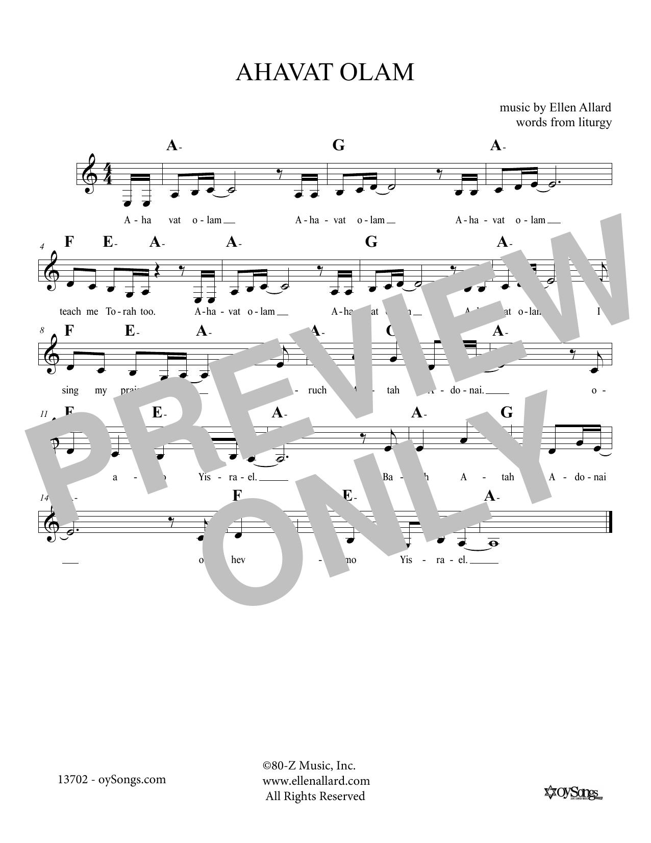 Ellen Allard Ahavat Olam sheet music notes and chords. Download Printable PDF.
