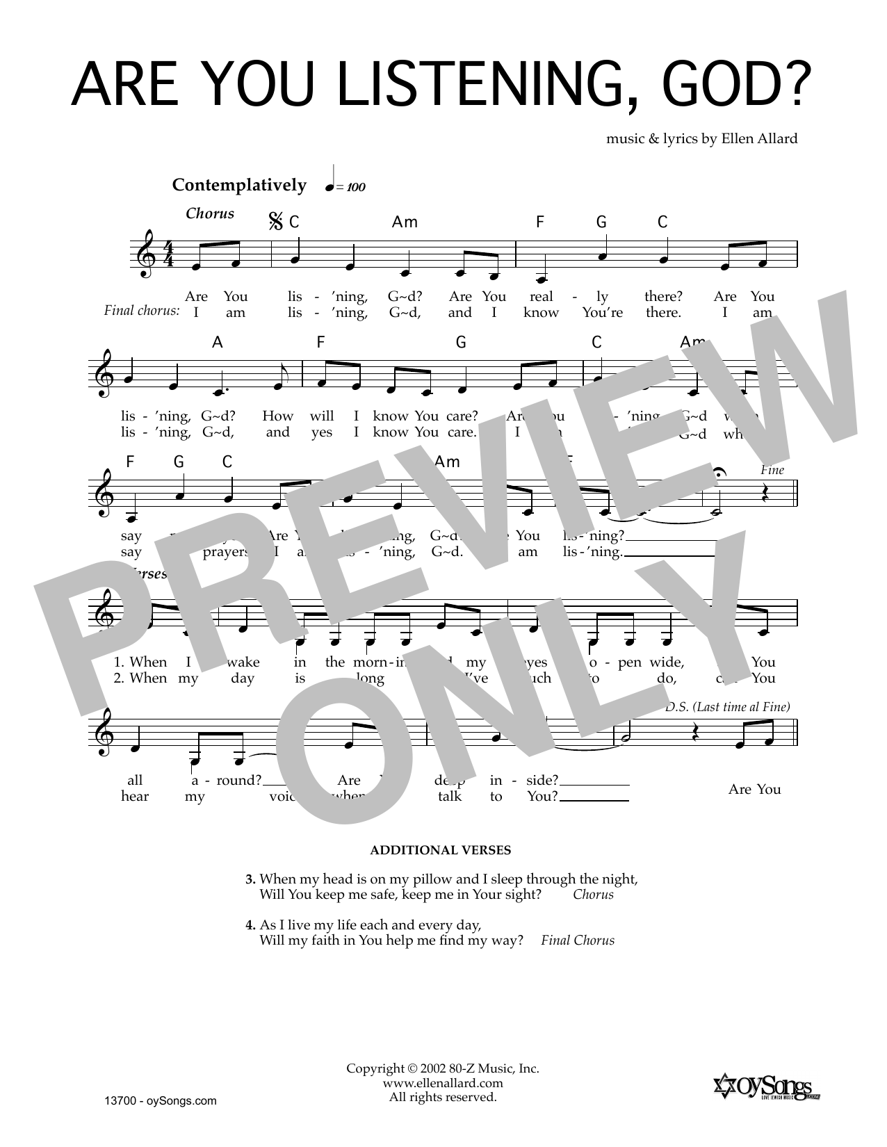 Ellen Allard Are You Listening God sheet music notes and chords. Download Printable PDF.