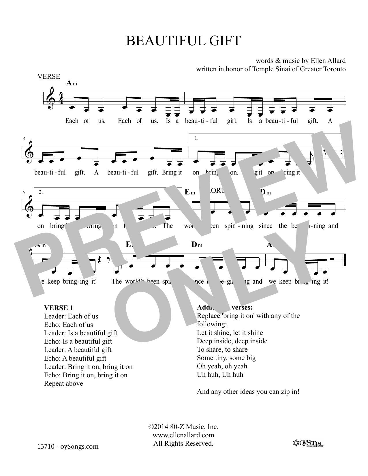 Ellen Allard Beautiful Gift sheet music notes and chords. Download Printable PDF.
