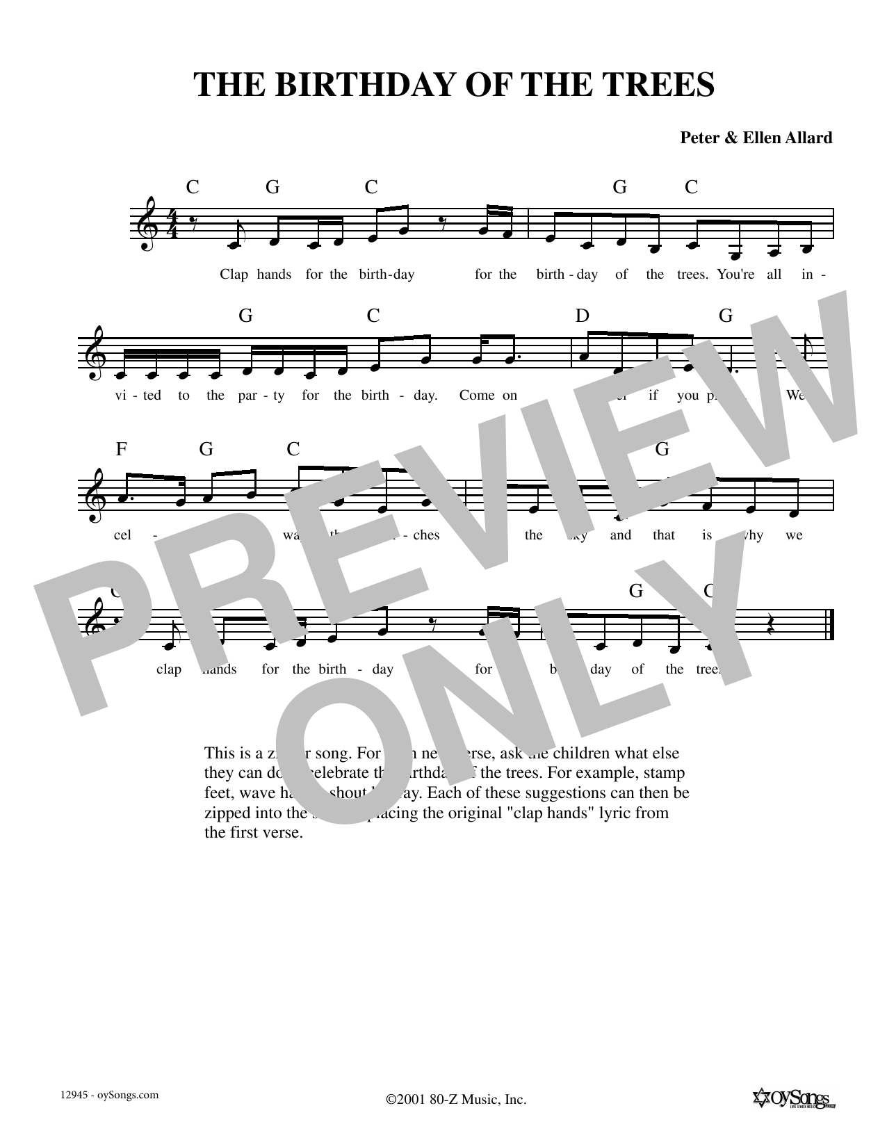 Ellen Allard Birthday Of The Trees sheet music notes and chords. Download Printable PDF.