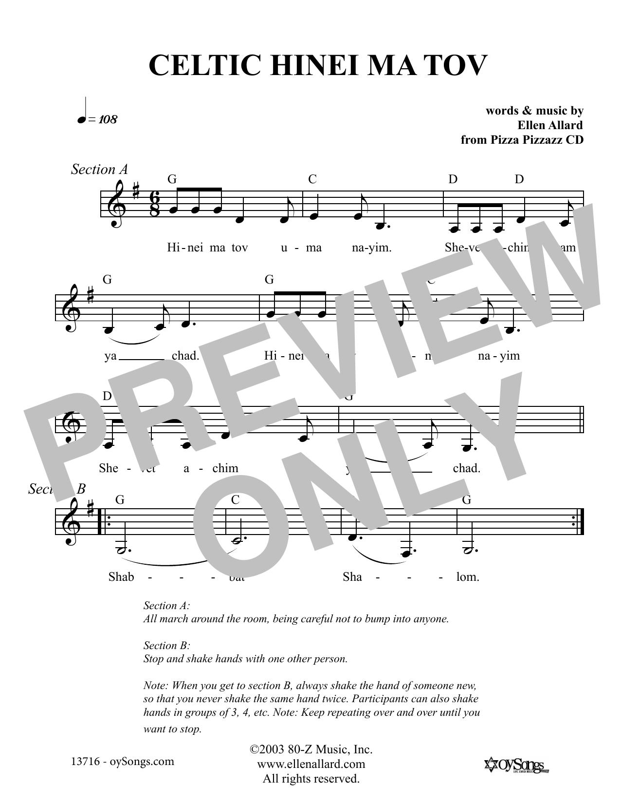 Ellen Allard Celtic Hinei Ma Tov sheet music notes and chords. Download Printable PDF.