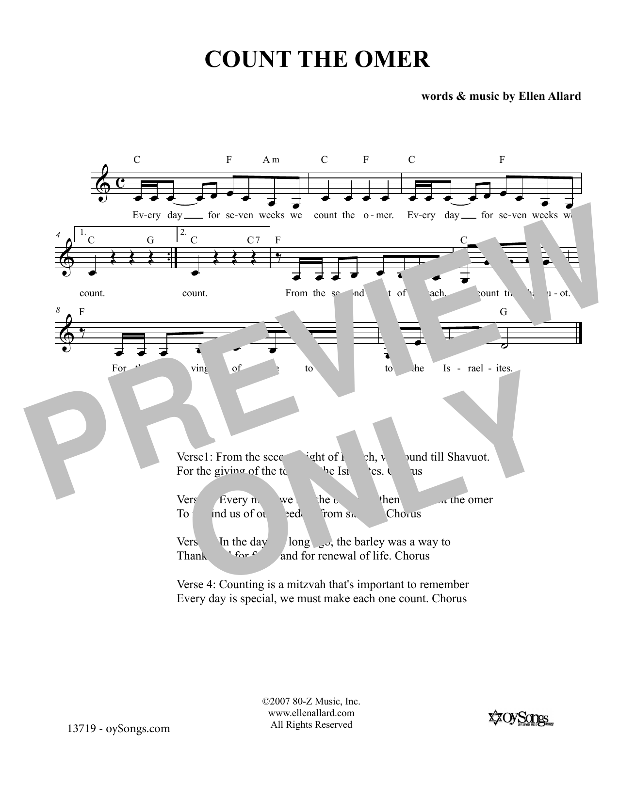 Ellen Allard Count the Omer sheet music notes and chords. Download Printable PDF.
