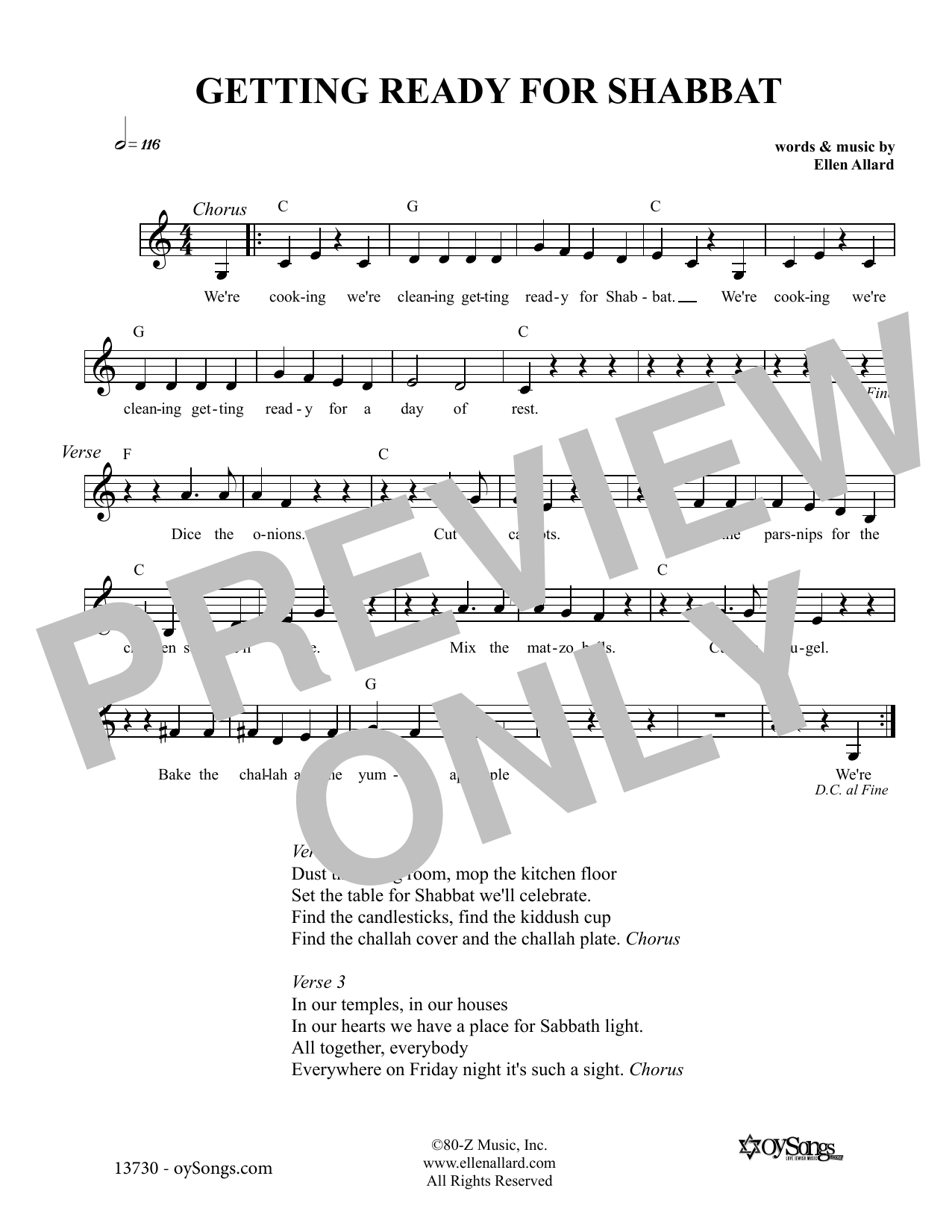 Ellen Allard Getting Ready For Shabbat sheet music notes and chords. Download Printable PDF.