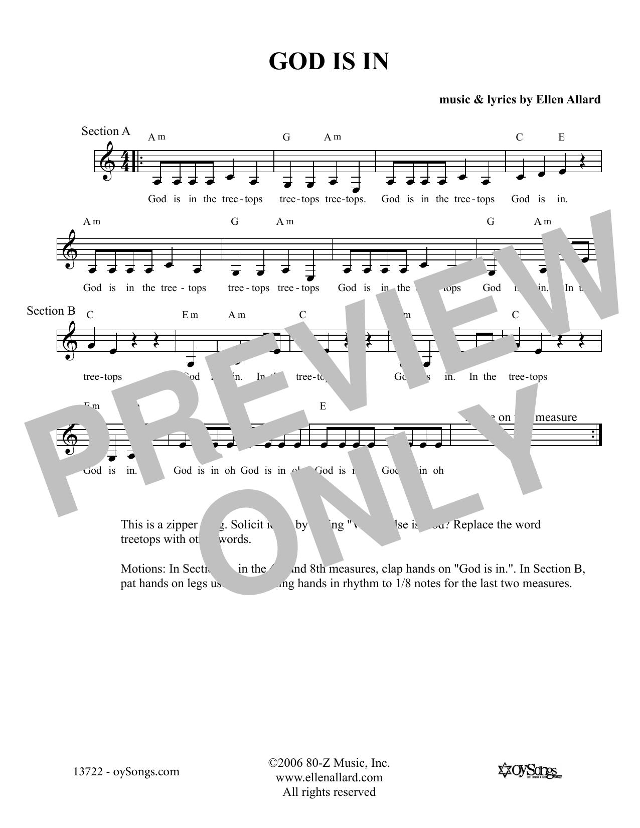 Ellen Allard God Is In sheet music notes and chords. Download Printable PDF.