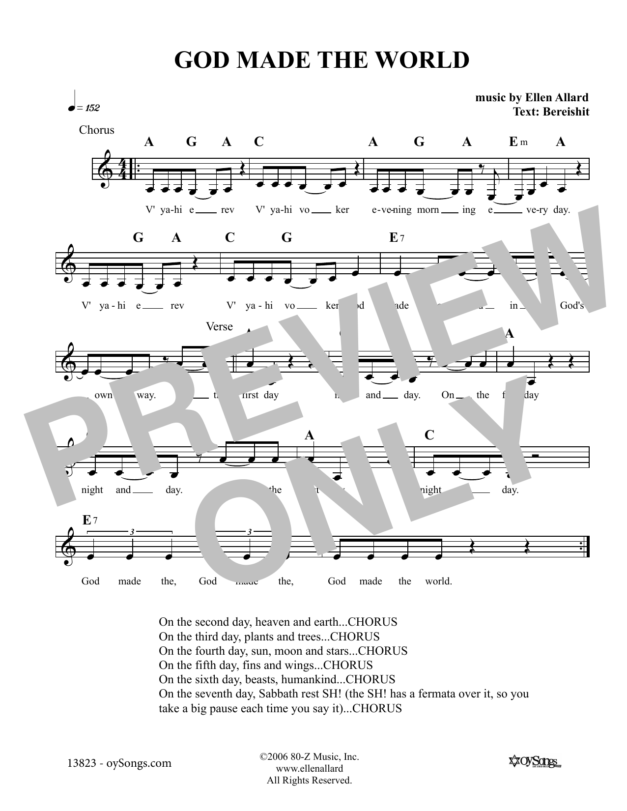 Ellen Allard God Made The World sheet music notes and chords. Download Printable PDF.