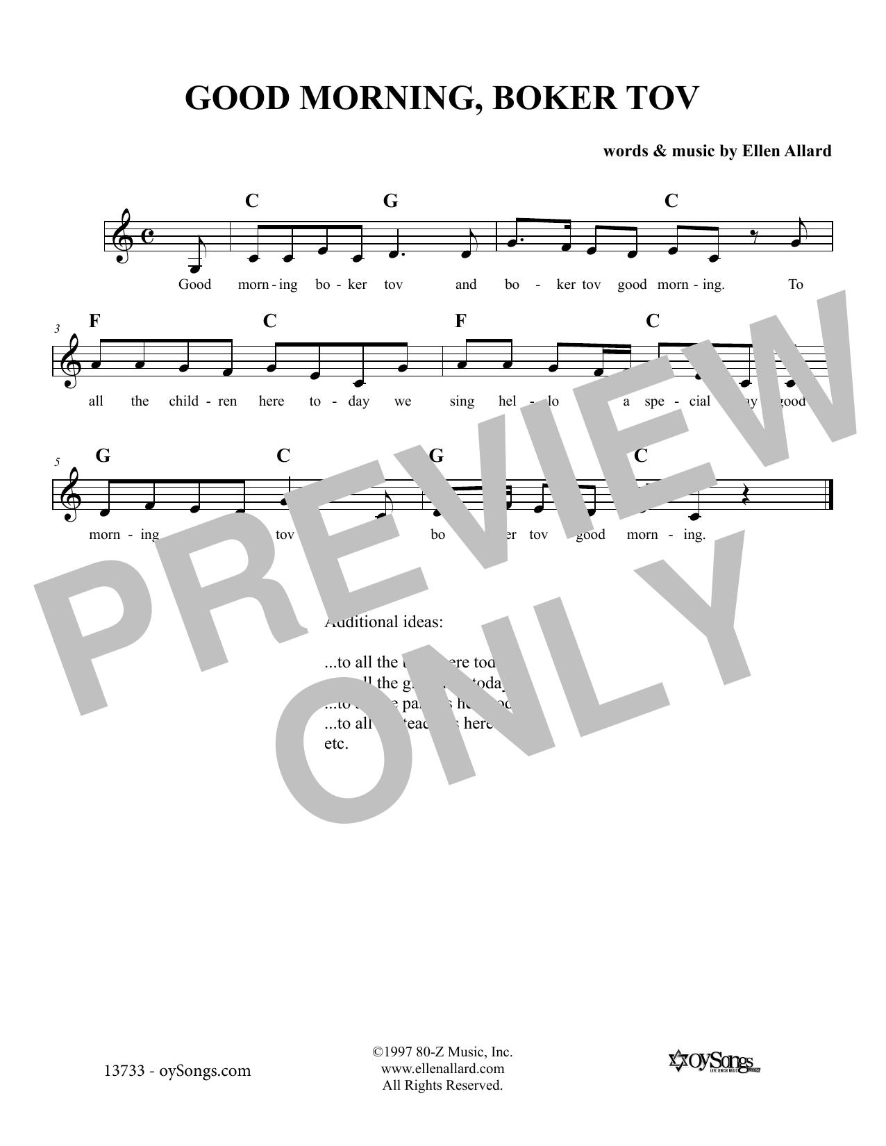Ellen Allard Good Morning Boker Tov sheet music notes and chords. Download Printable PDF.