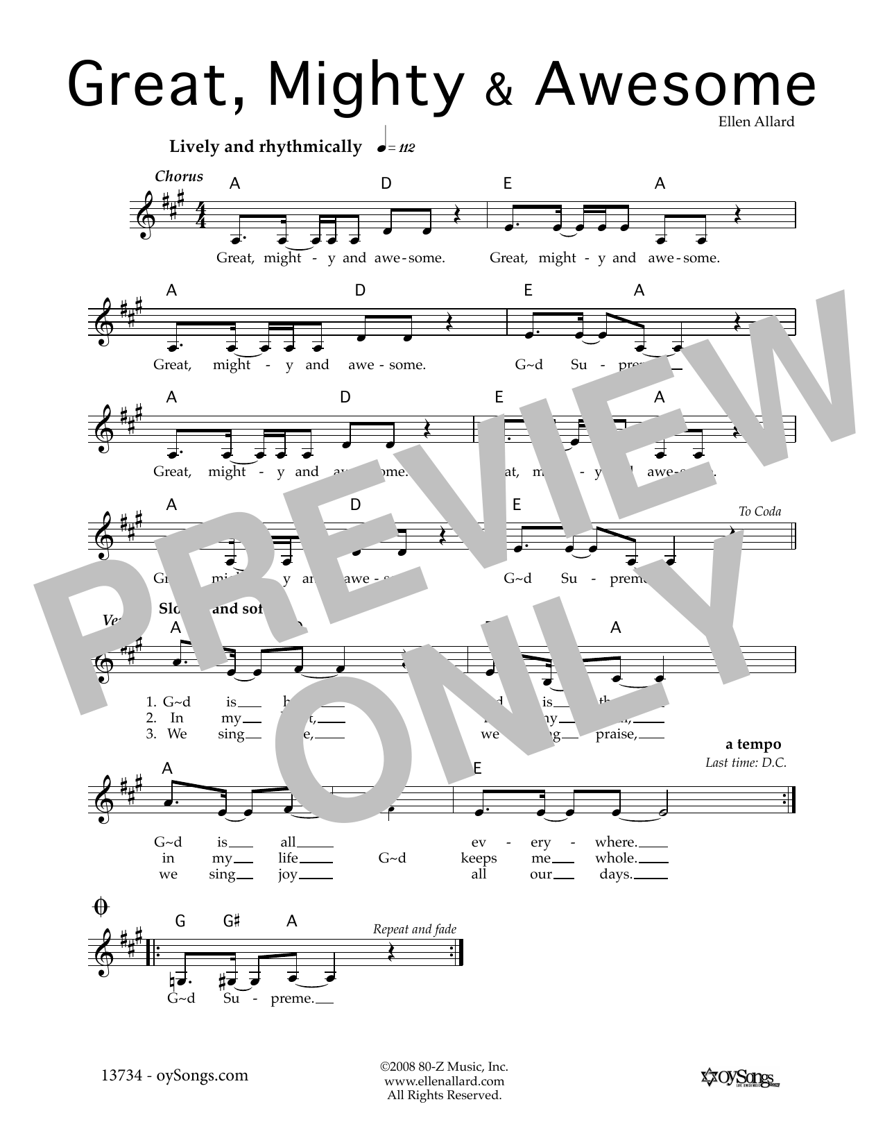Ellen Allard Great Mighty and Awesome sheet music notes and chords. Download Printable PDF.