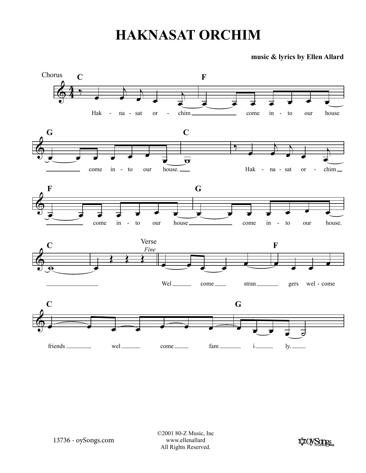 Ellen Allard Haknasat Orchim sheet music notes and chords. Download Printable PDF.