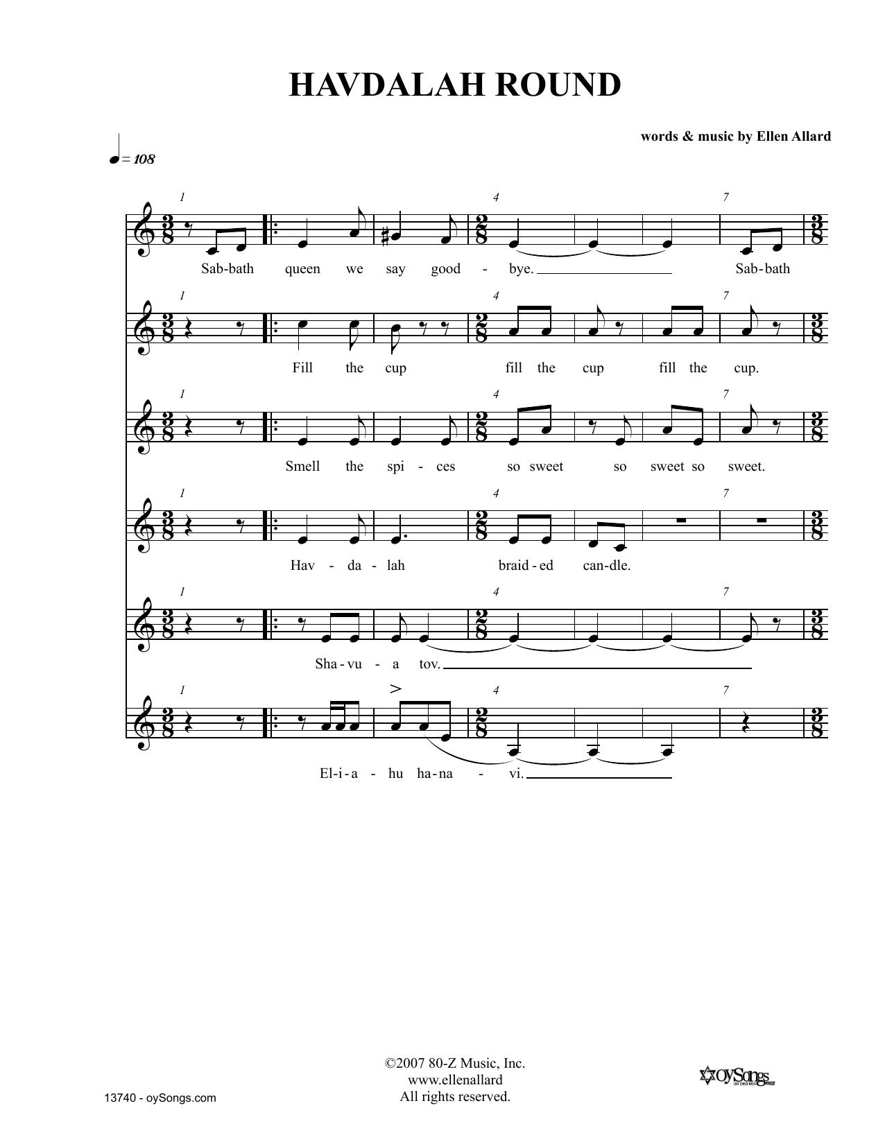 Ellen Allard Havdalah Round sheet music notes and chords. Download Printable PDF.
