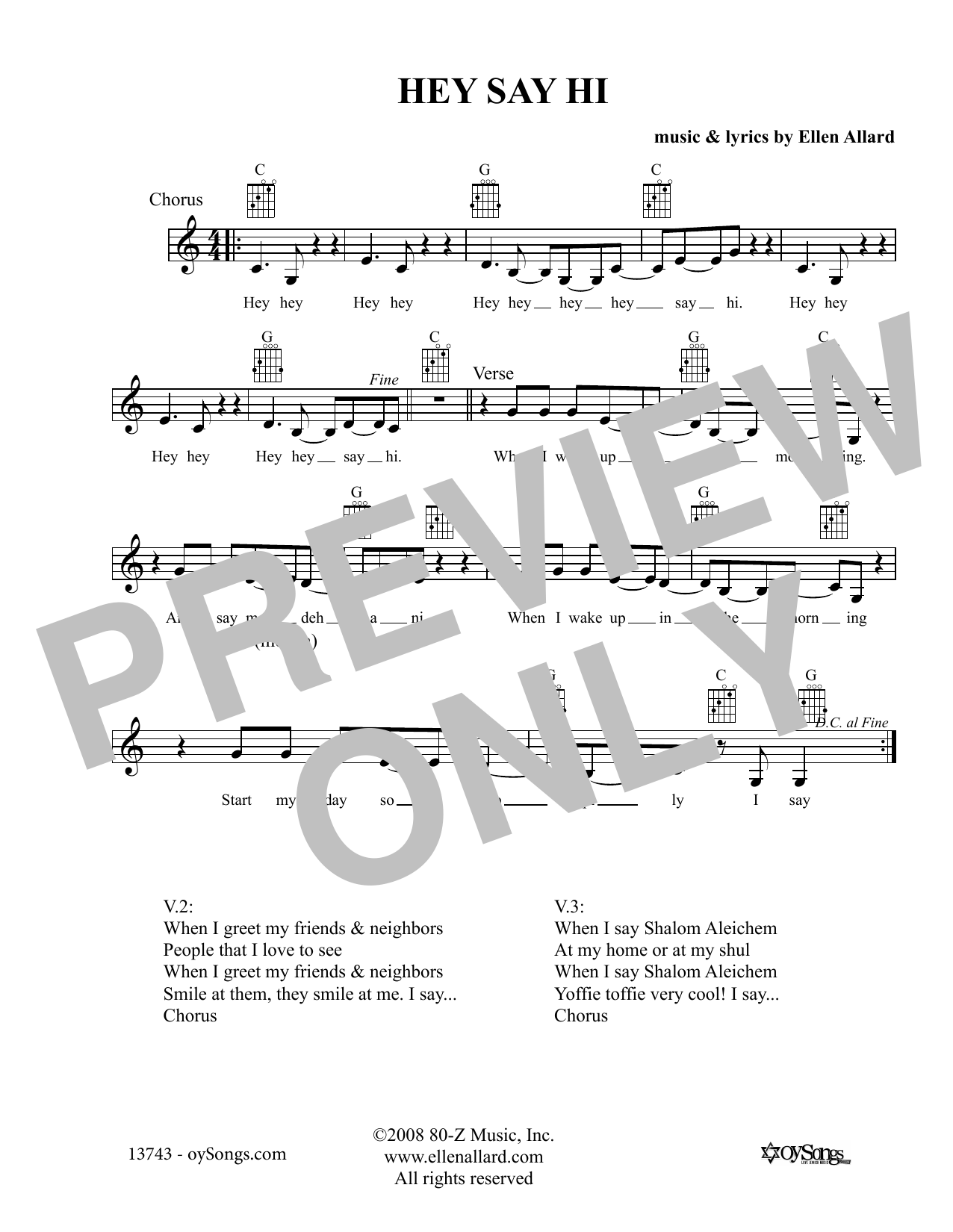 Ellen Allard Hey Say Hi sheet music notes and chords. Download Printable PDF.