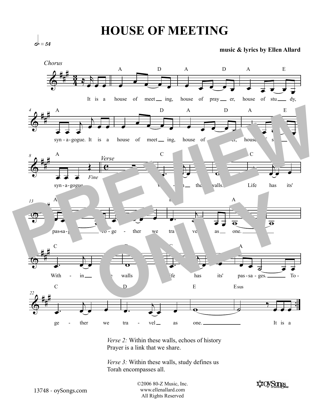 Ellen Allard House of Meeting sheet music notes and chords. Download Printable PDF.