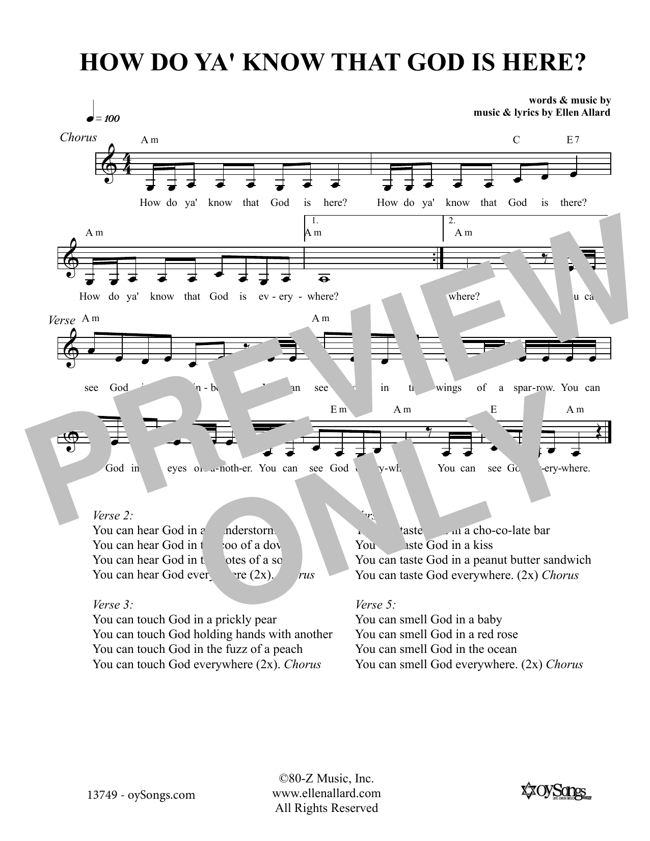 Ellen Allard How Do You Know That God Is Here sheet music notes and chords. Download Printable PDF.