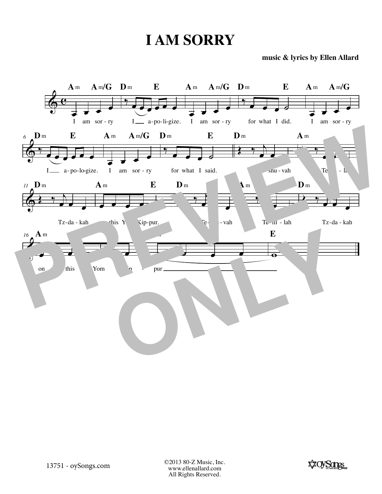 Ellen Allard I Am Sorry sheet music notes and chords. Download Printable PDF.