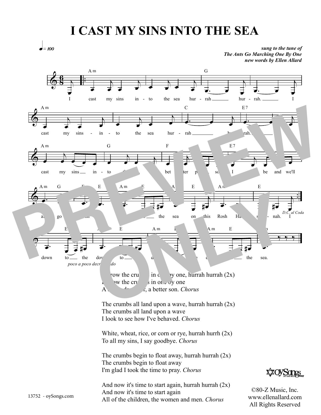 Ellen Allard I Cast My Sins Into The Sea sheet music notes and chords. Download Printable PDF.