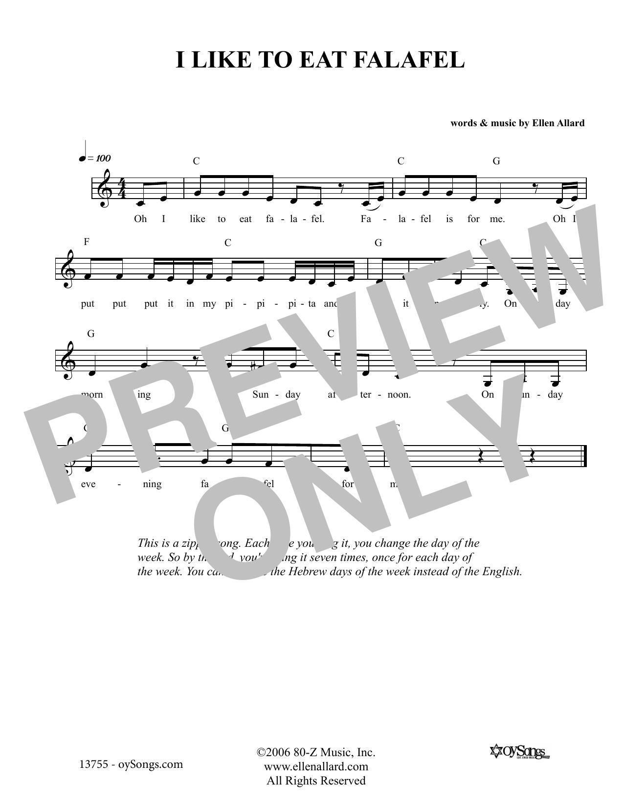 Ellen Allard I Like To Eat Felafel sheet music notes and chords. Download Printable PDF.