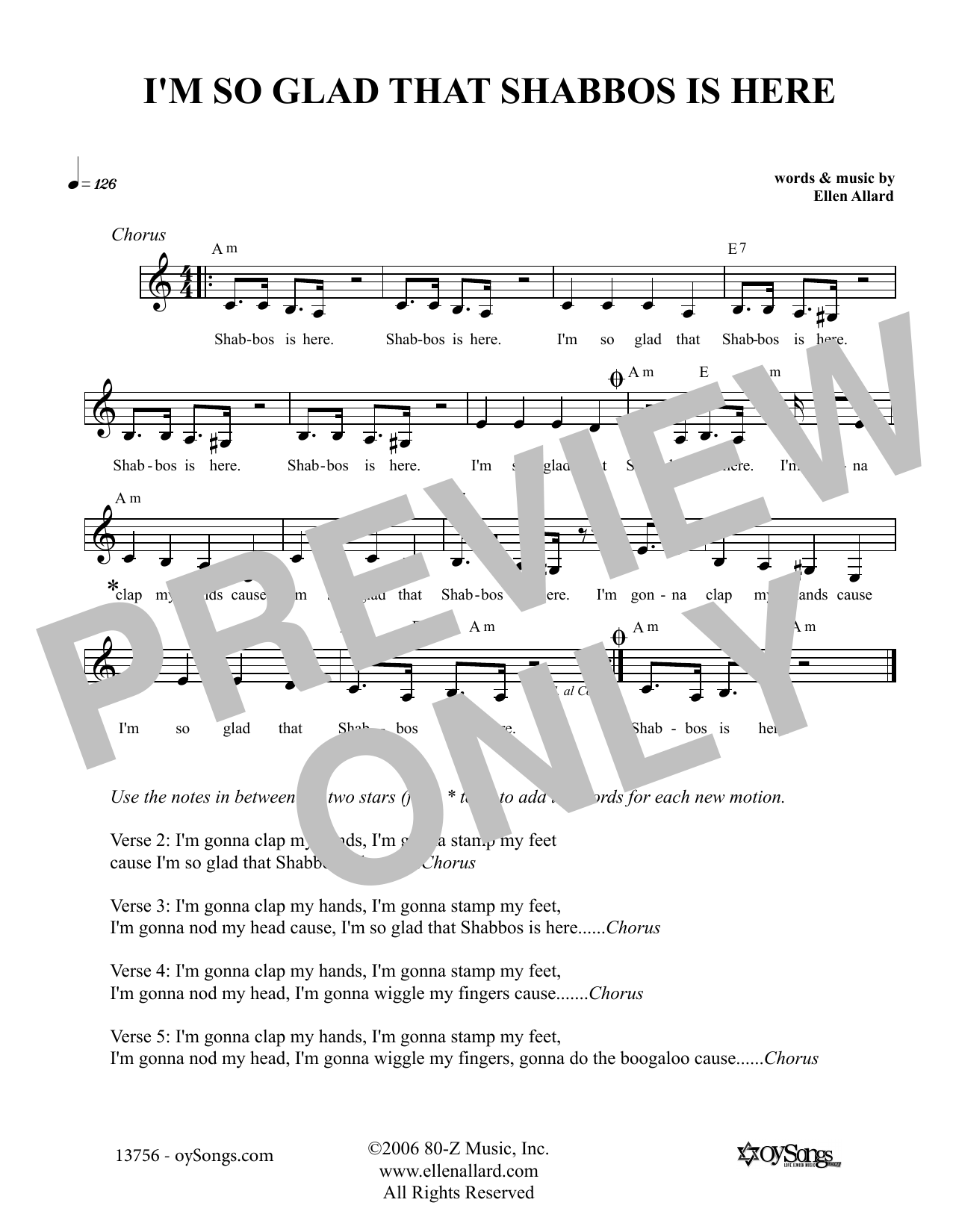 Ellen Allard I'm So Glad That Shabbos Is Here sheet music notes and chords. Download Printable PDF.