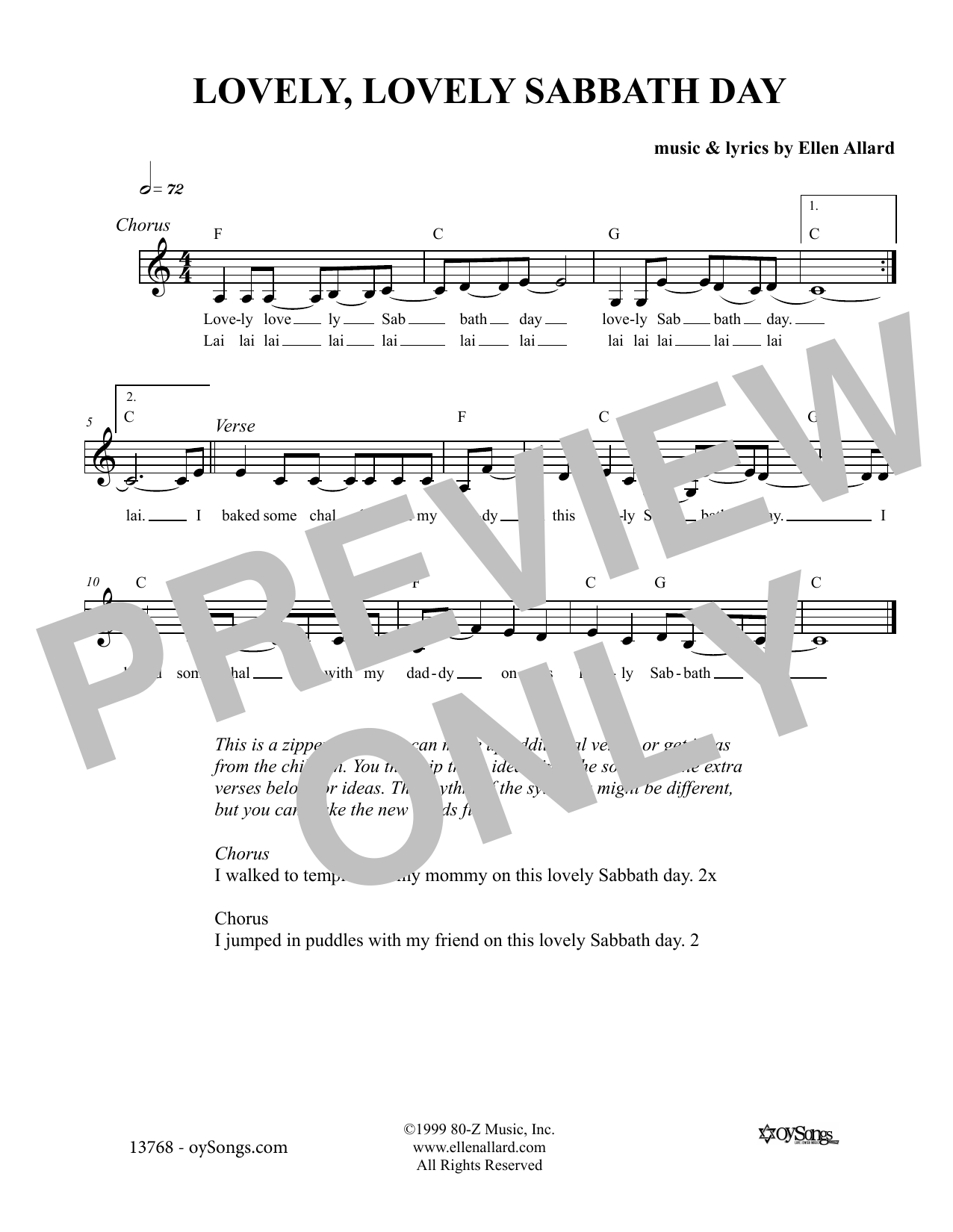 Ellen Allard Lovely Lovely Sabbath Day sheet music notes and chords. Download Printable PDF.