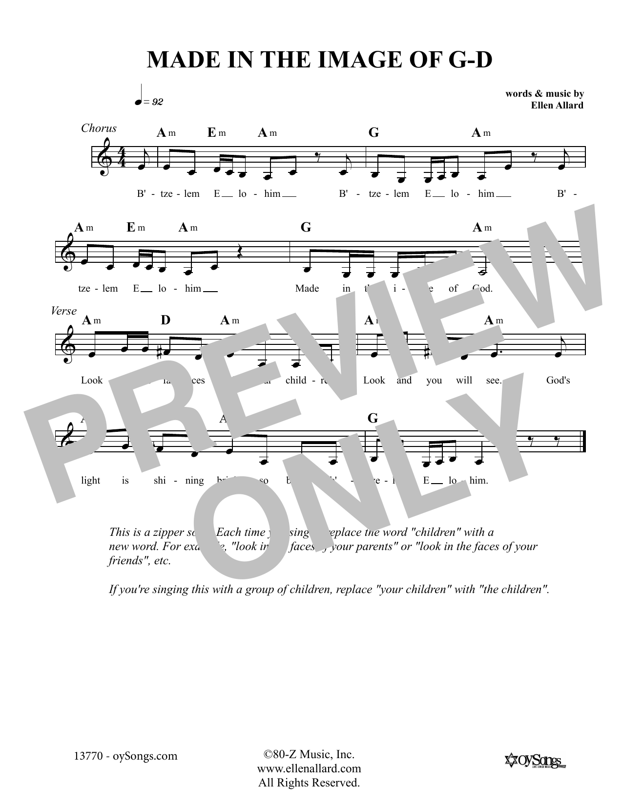 Ellen Allard Made In The Image Of God sheet music notes and chords. Download Printable PDF.