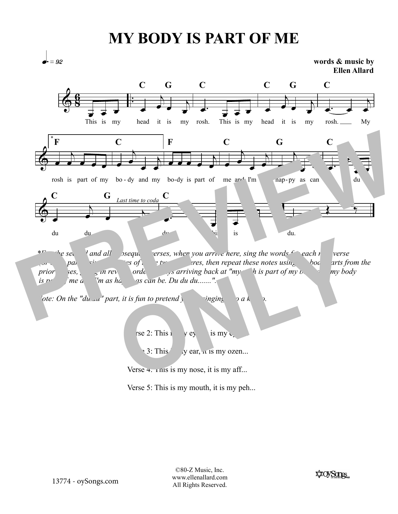 Ellen Allard My Body Is Part Of Me sheet music notes and chords. Download Printable PDF.