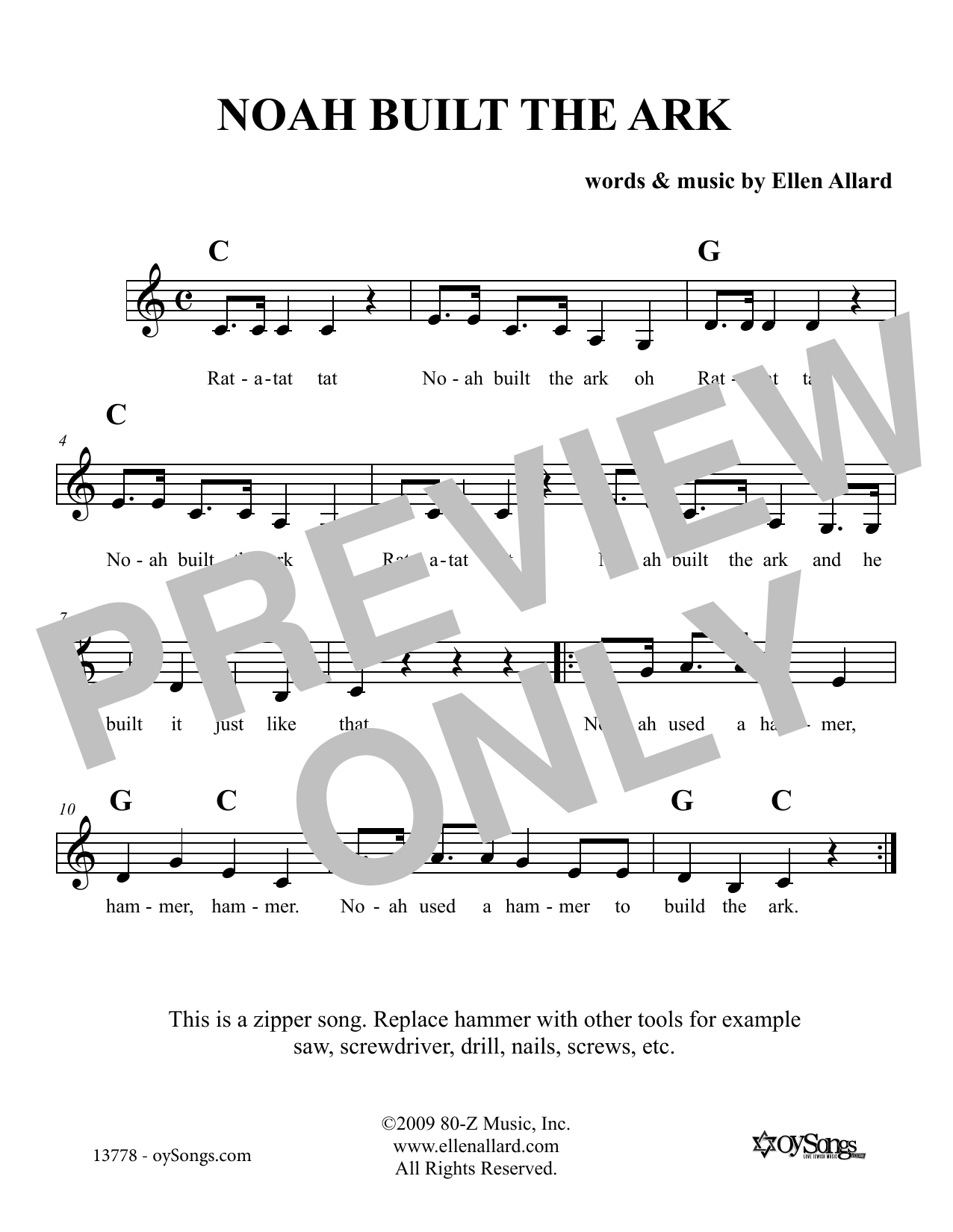 Ellen Allard Noah Built The Ark sheet music notes and chords. Download Printable PDF.