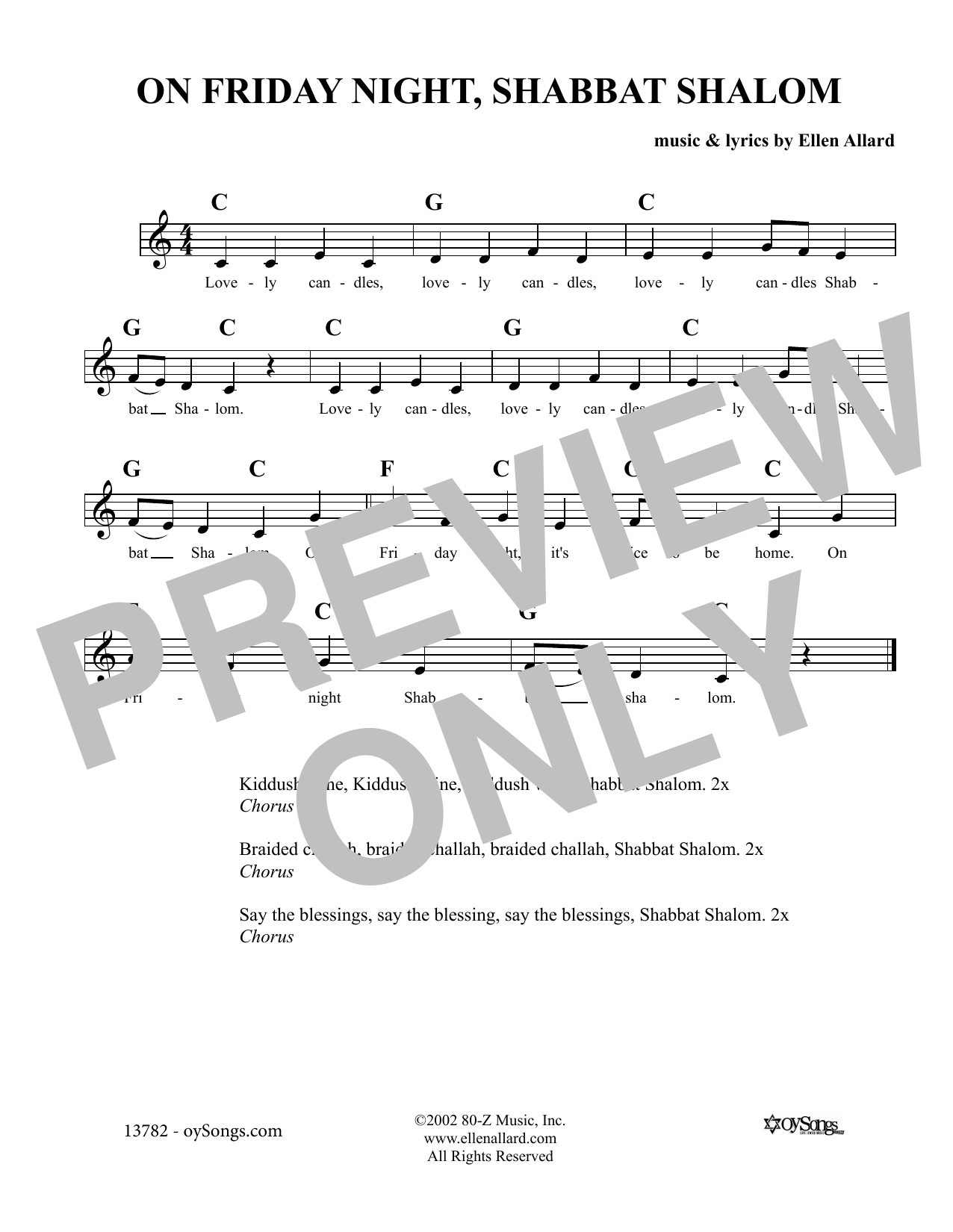Ellen Allard On Friday Night Shabbat Shalom sheet music notes and chords. Download Printable PDF.
